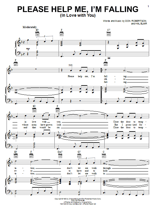 Please Help Me, I'm Falling (In Love With You) sheet music for voice, piano or guitar by Hal Blair