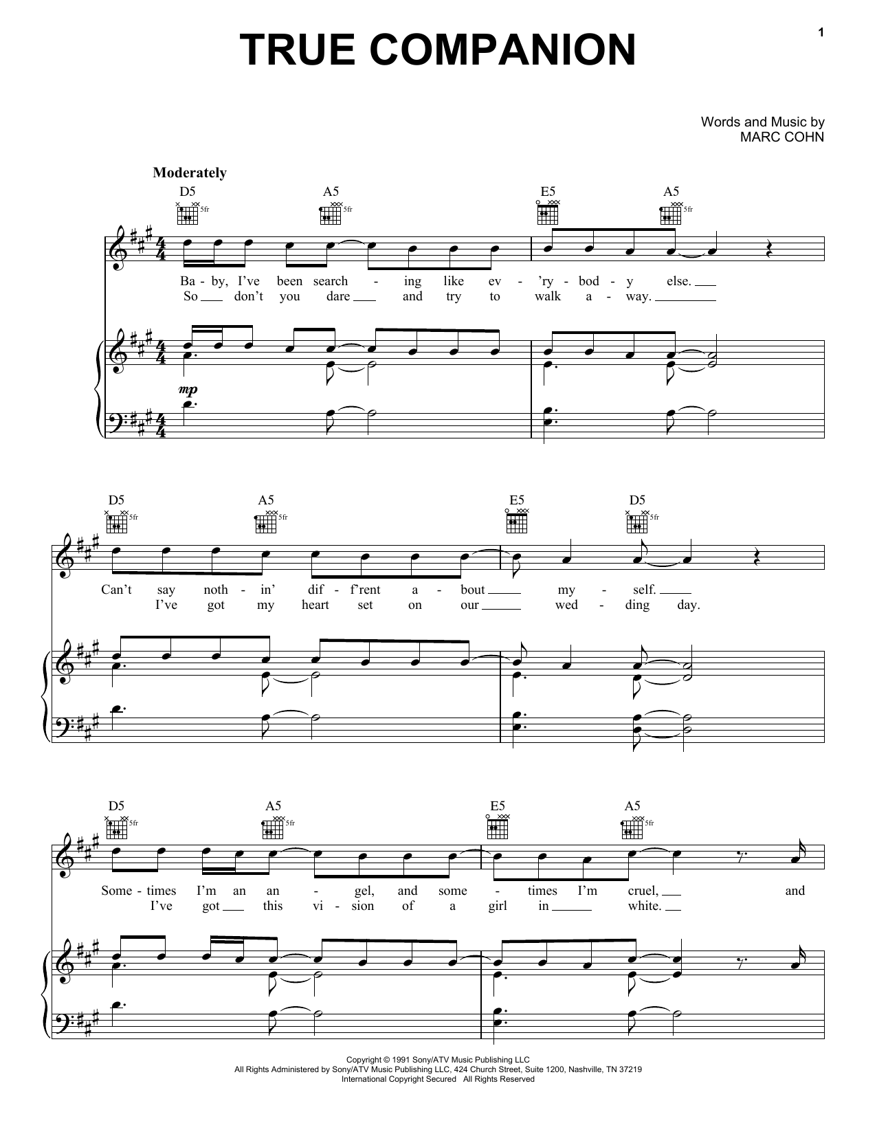 True Companion sheet music for voice, piano or guitar by Marc Cohn