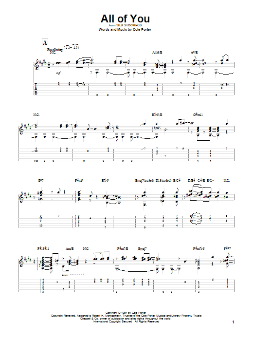 All Of You sheet music for guitar solo by Cole Porter
