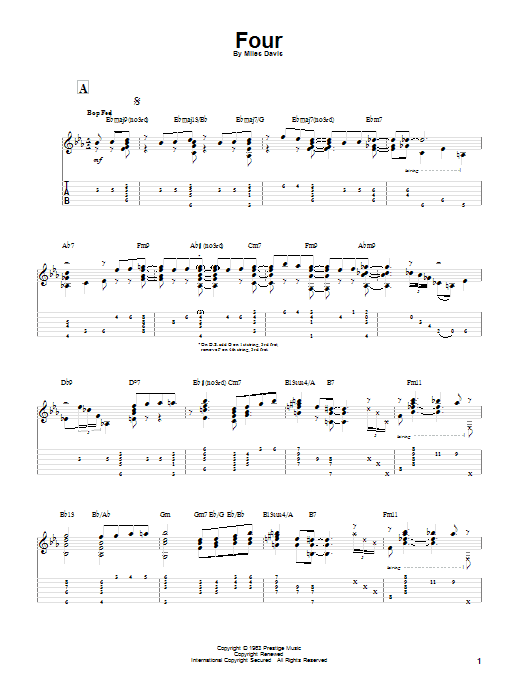 Tablature guitare Four de Miles Davis - Tablature Guitare