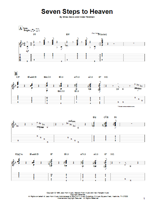 Seven Steps To Heaven sheet music for guitar solo by Victor Feldman