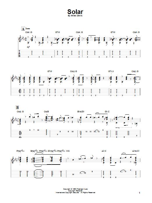 Tablature guitare Solar de Miles Davis - Tablature Guitare