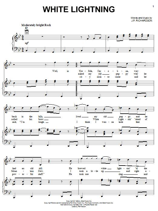 Partition piano White Lightning de George Jones - Piano Voix Guitare (Mélodie Main Droite)