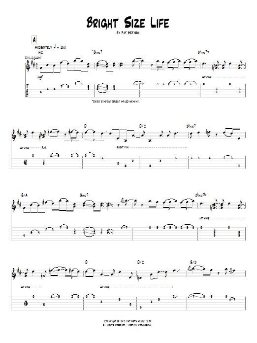 Tablature guitare Bright Size Life de Pat Metheny - Tablature Guitare