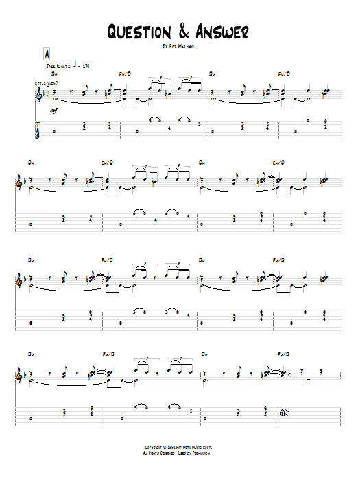 Tablature guitare Question & Answer de Pat Metheny - Tablature Guitare