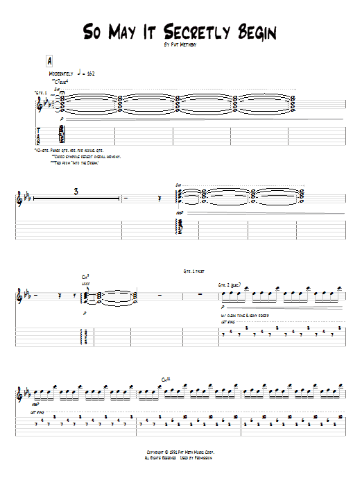 Tablature guitare So May It Secretly Begin de Pat Metheny - Tablature Guitare