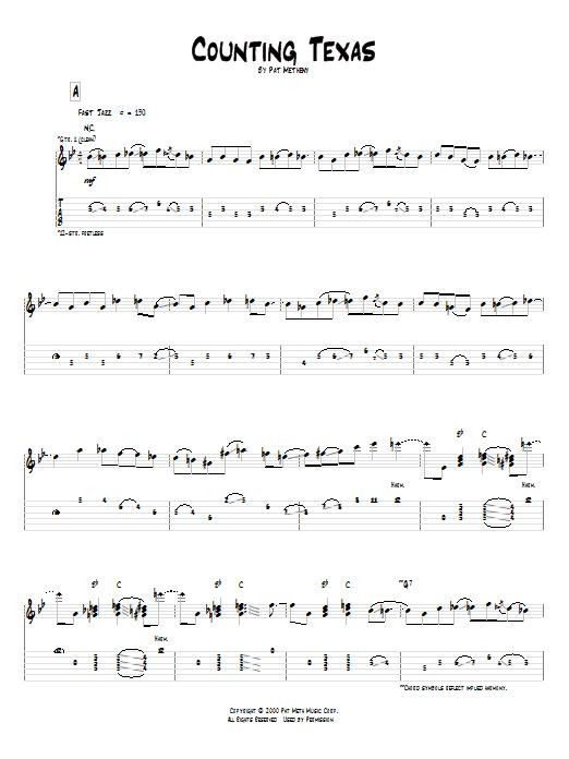 Tablature guitare Counting Texas de Pat Metheny - Tablature Guitare