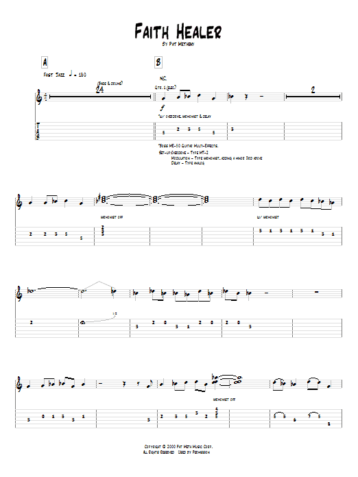 Tablature guitare Faith Healer de Pat Metheny - Tablature Guitare