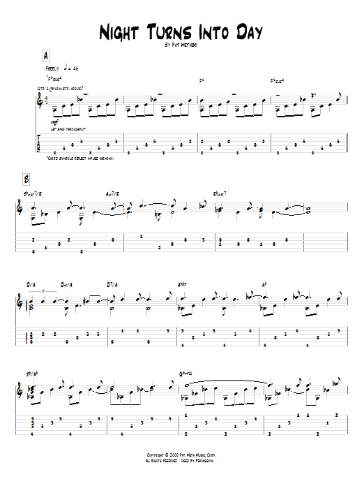 Tablature guitare Night Turns Into Day de Pat Metheny - Tablature Guitare