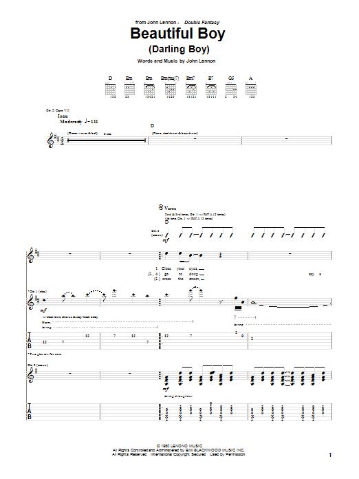 Tablature guitare Beautiful Boy (Darling Boy) de John Lennon - Tablature Guitare