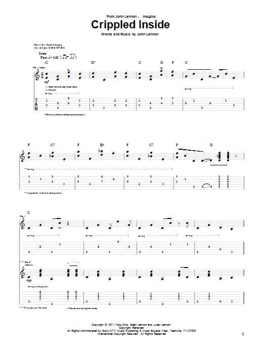Tablature guitare Crippled Inside de John Lennon - Tablature Guitare