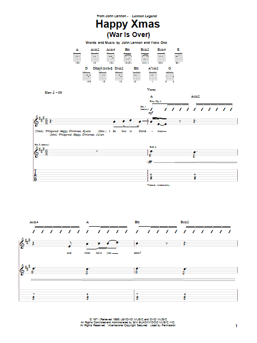 Happy Xmas (War Is Over) sheet music for guitar solo (tablature) by John Lennon