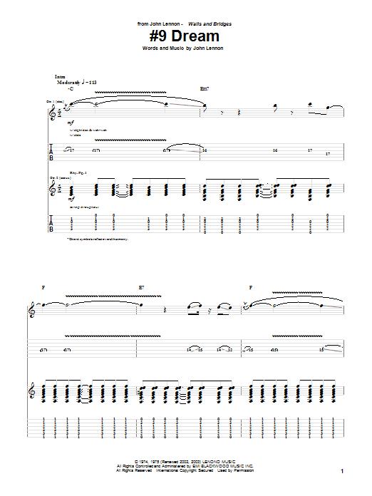 Tablature guitare #9 Dream de John Lennon - Tablature Guitare