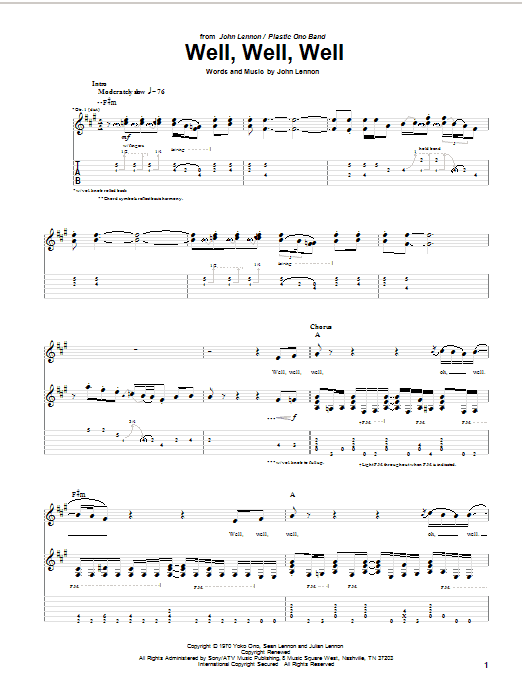 Tablature guitare Well, Well, Well de John Lennon - Tablature Guitare