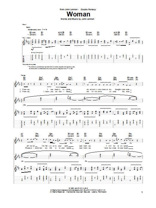 Tablature guitare Woman de John Lennon - Tablature Guitare