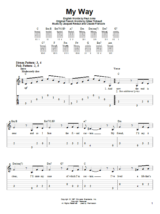 My Way sheet music for guitar solo (easy tablature) by Jacques Revaux