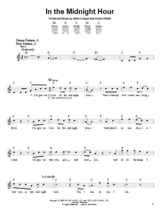 In The Midnight Hour sheet music for guitar solo (chords) by Steve Cropper