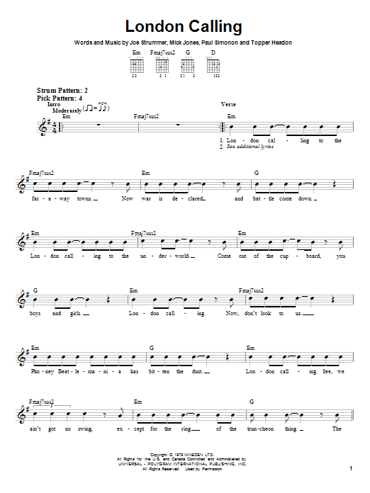 Tablature guitare London Calling de The Clash - Tablature guitare facile