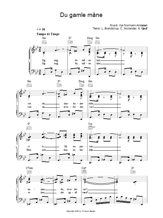 Du Gamle Mane sheet music for voice, piano or guitar by L. Brandstrup