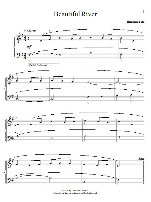 Partition piano Beautiful River de Hampton Burt - Piano Facile