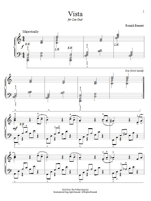 Partition piano Vista de Ronald Bennett - Piano Solo