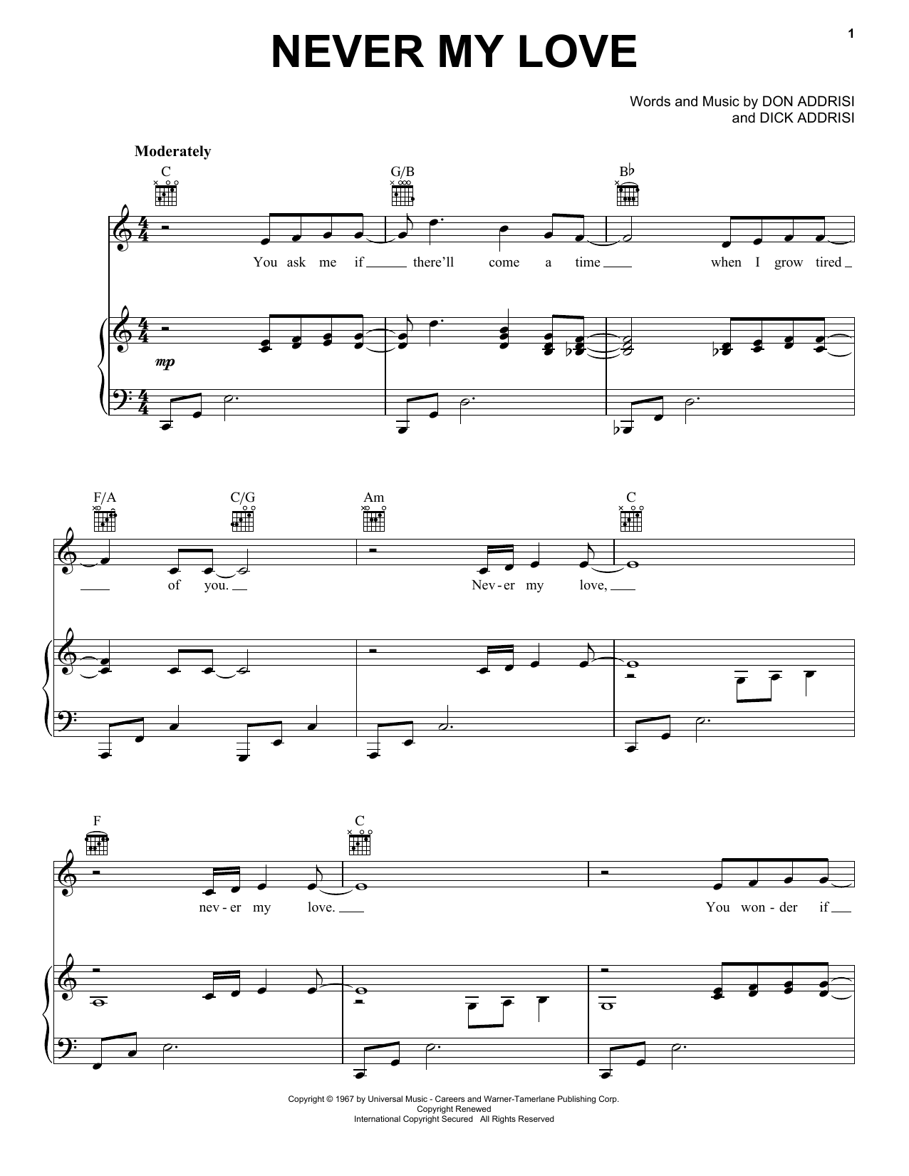 Never My Love sheet music for voice, piano or guitar by Don Addrisi