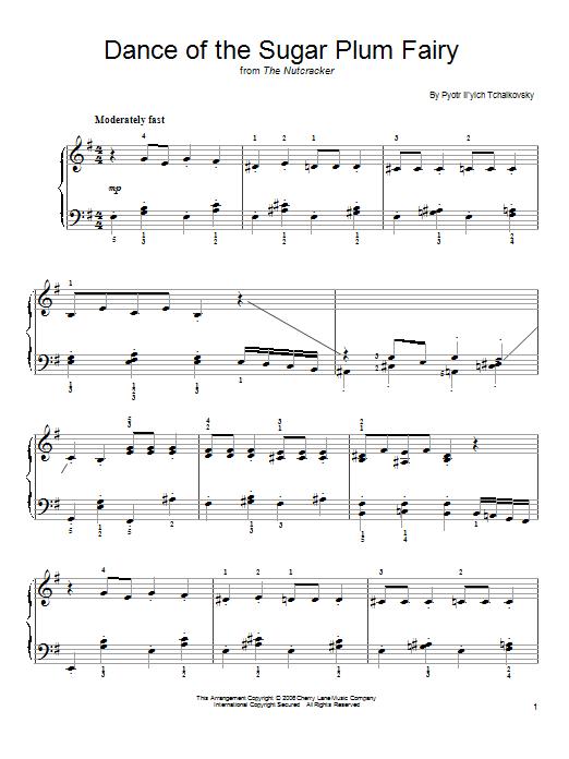 Partition piano Dance Of The Sugar Plum Fairy (from The Nutcracker) de Pyotr Ilyich Tchaikovsky - Piano Facile