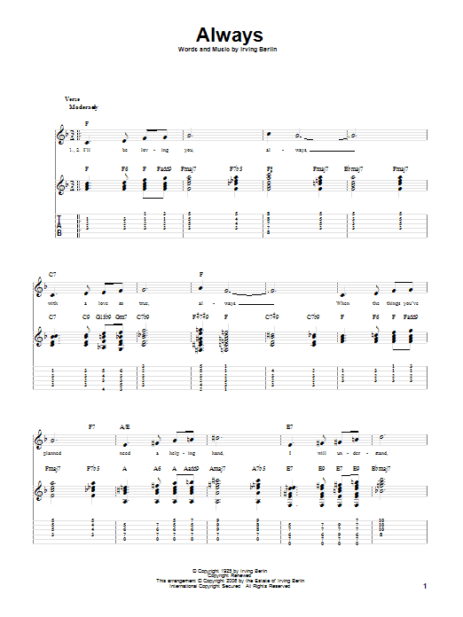 Tablature guitare Always de Irving Berlin - Tablature Guitare