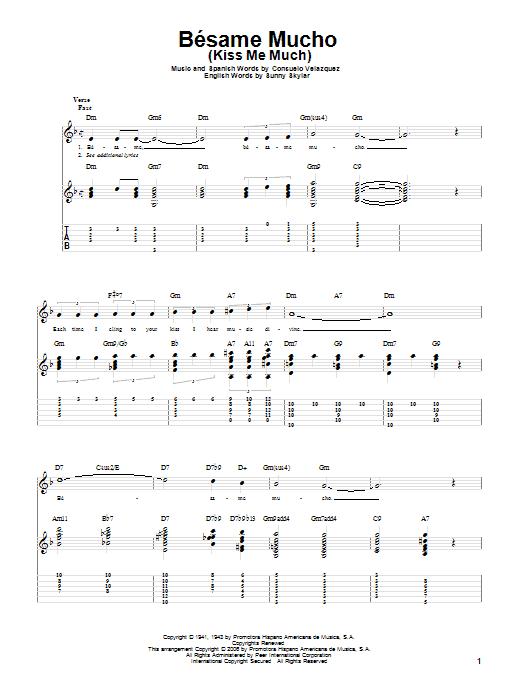 Tablature guitare Besame Mucho (Kiss Me Much) de Consuelo Velazquez - Tablature Guitare