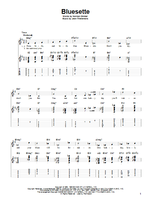 Tablature guitare Bluesette de Norman Gimbel - Tablature Guitare