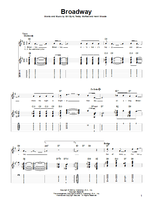 Tablature guitare Broadway de Count Basie - Tablature Guitare