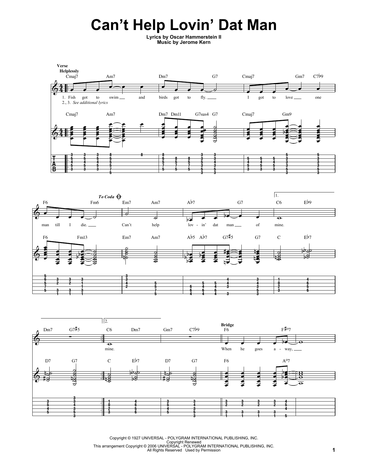 Tablature guitare Can't Help Lovin' Dat Man de Jerome Kern - Tablature Guitare