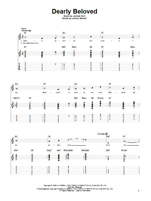 Tablature guitare Dearly Beloved de Jerome Kern - Tablature Guitare