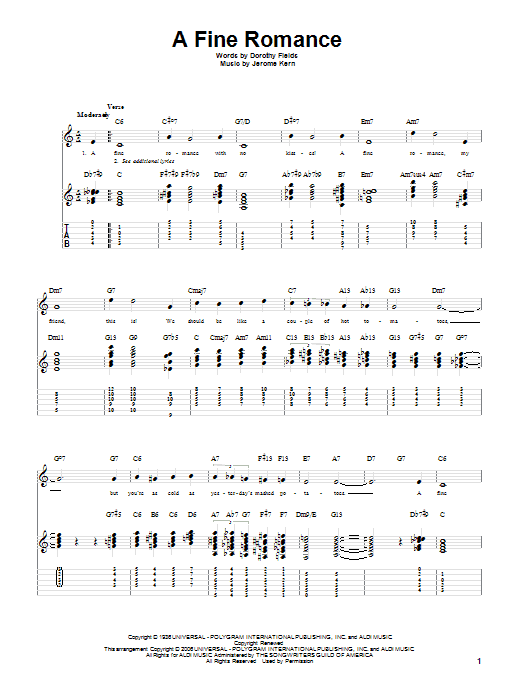 A Fine Romance sheet music for guitar solo by Dorothy Fields