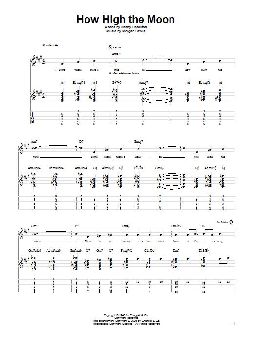 Tablature guitare How High The Moon de Les Paul - Tablature Guitare