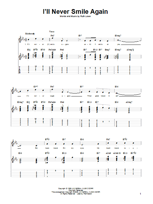 I'll Never Smile Again sheet music for guitar solo by Ruth Lowe