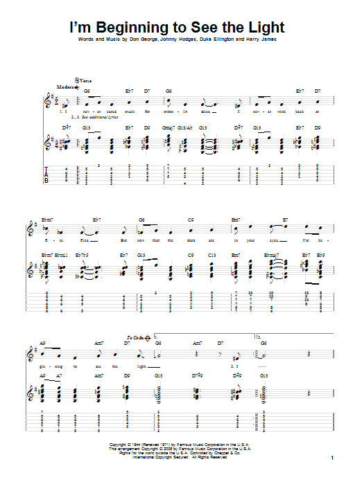I'm Beginning To See The Light sheet music for guitar solo by Johnny Hodges