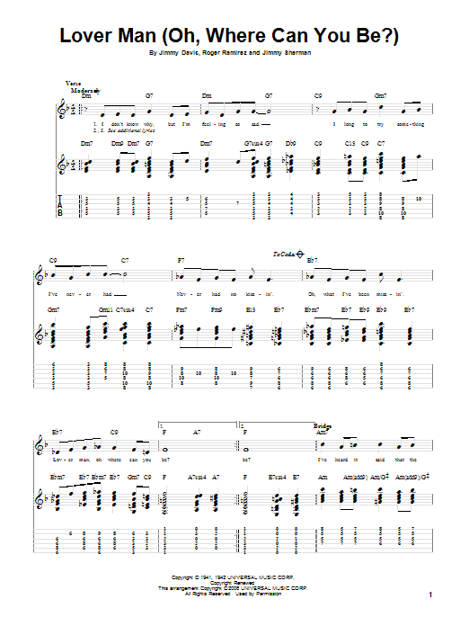 Tablature guitare Lover Man (Oh, Where Can You Be?) de Billie Holiday - Tablature Guitare