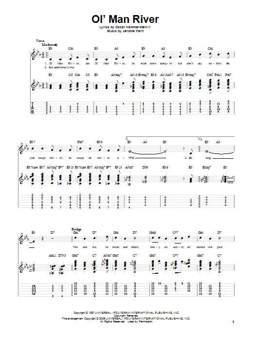 Tablature guitare Ol' Man River de Jerome Kern - Tablature Guitare