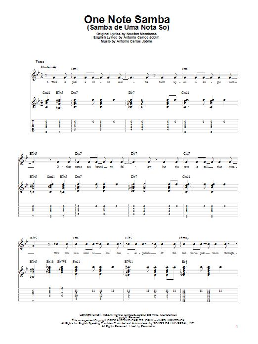 Tablature guitare One Note Samba (Samba De Uma Nota So) de Antonio Carlos Jobim - Tablature Guitare