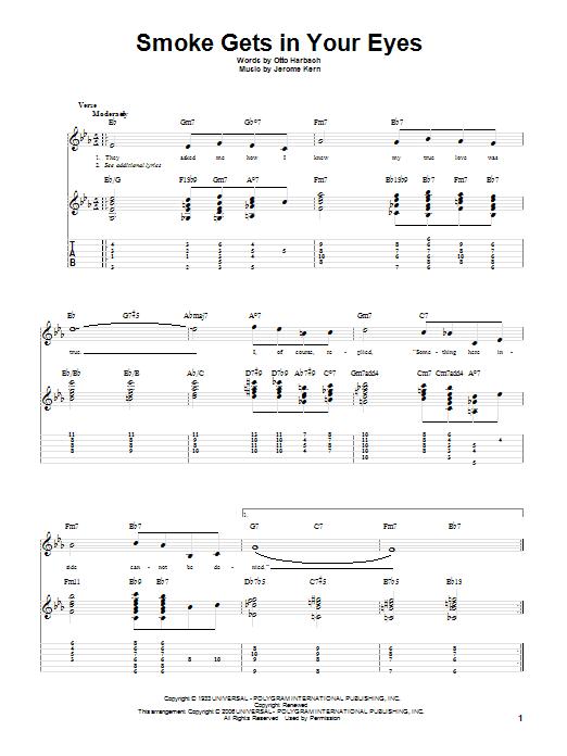 Tablature guitare Smoke Gets In Your Eyes de Jerome Kern - Tablature Guitare