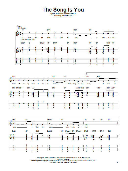 Tablature guitare The Song Is You de Jerome Kern - Tablature Guitare