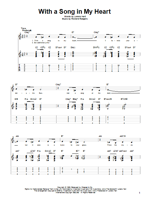 Tablature guitare With A Song In My Heart de Rodgers & Hart - Tablature Guitare