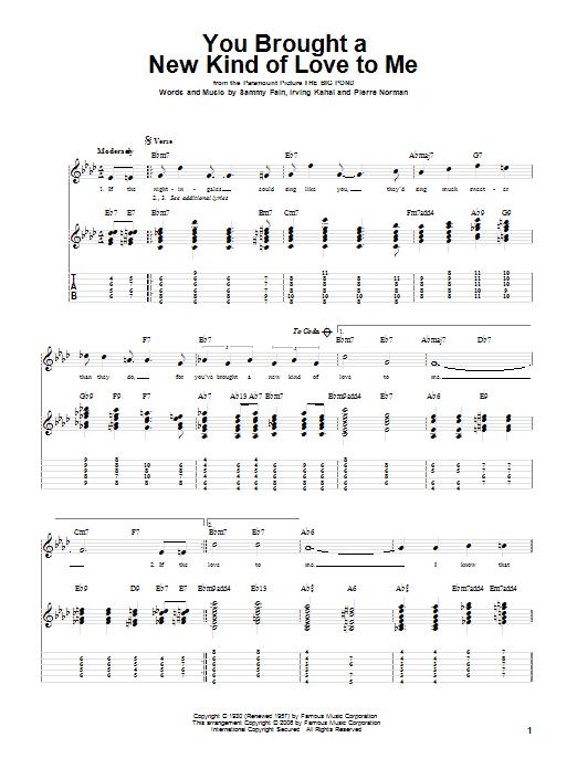 Tablature guitare You Brought A New Kind Of Love To Me de Frank Sinatra - Tablature Guitare