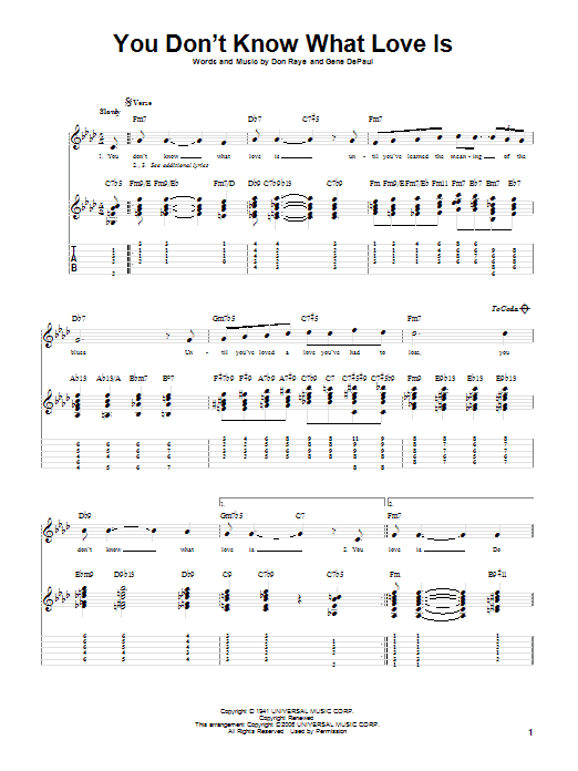 Tablature guitare You Don't Know What Love Is de Carol Bruce - Tablature Guitare