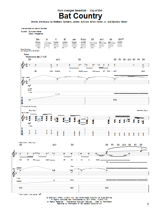 Bat Country Guitar Tab by Avenged Sevenfold (Guitar Tab u2013 54045)