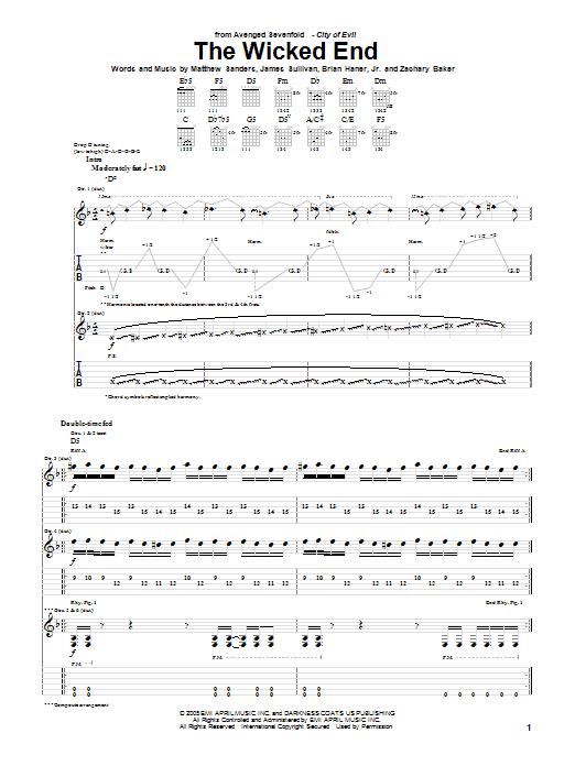 Tablature guitare The Wicked End de Avenged Sevenfold - Tablature Guitare