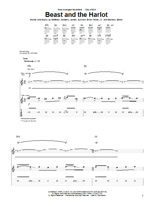 Beast And The Harlot by Avenged Sevenfold - Guitar Tab - Guitar Instructor