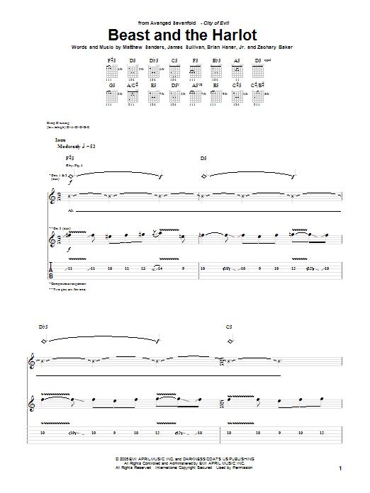 Tablature guitare Beast And The Harlot de Avenged Sevenfold - Tablature Guitare