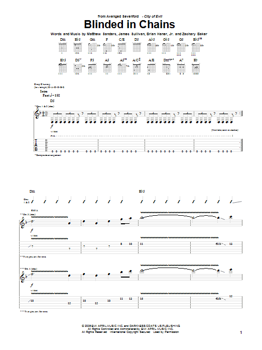 Tablature guitare Blinded In Chains de Avenged Sevenfold - Tablature Guitare